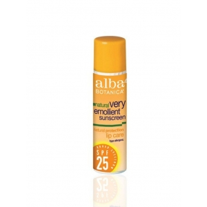 Natural Very Emollient Sunscreen Natural Protection Lip Care SPF 25 by Alba Botanica