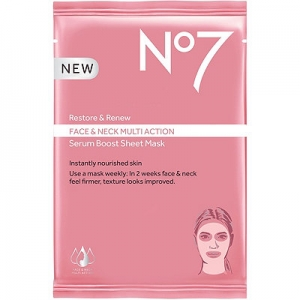 No7 Restore & Renew Face & Neck Multi Action Serum Boost Sheet Mask by Boots