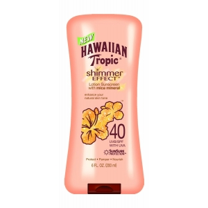 Shimmer Effect Lotion Sunscreen with Mica Minerals Broad Spectrum SPF 40 by Hawaiian Tropic